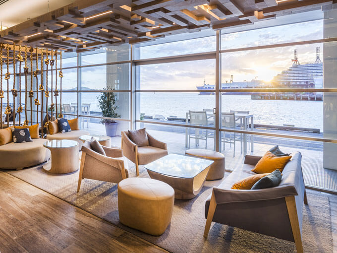 Bellini Bar on Princes Wharf offers high tea with a stunning view